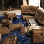 Leather couch ready to restore