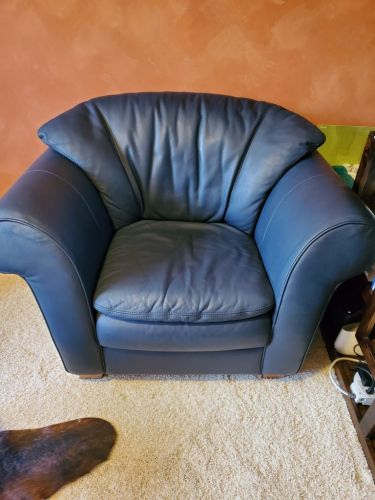 Photo of Natuzzi leather chair after Rub n Restore Midnight Blue