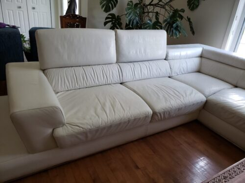 Picture of white leather couch restored with Rub n Restore