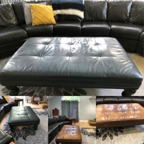 Collage of copper brown leather sectional and ottoman changed to dark grey with RubnRestore