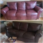 Collage of wine colored sofa changed to espresso brown