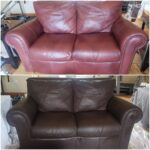 Collage of burgundy loveseat changed to espresso