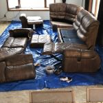 Leather couch in the process of restoration
