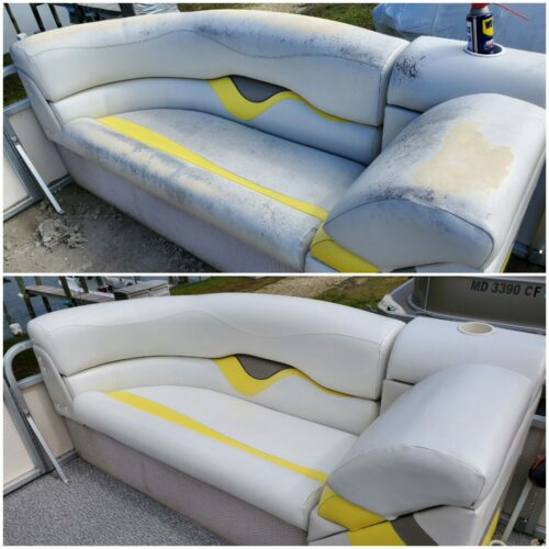 Picture of boat vinyl stained by mildew and concealed with RubnRestore Marine White