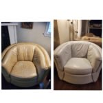Before-after collage of club chair changed from beige to ash grey with Rub n Restore