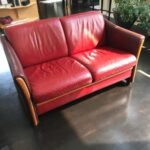 Picture of leather couch recolored with Red Chili Rub n Restore