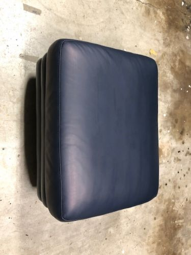 Picture of scratched leather ottoman restored with Midnight Blue Rub n Restore