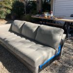 Leather sectional during recoloring with Rub n Restore