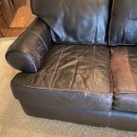 Picture of scratched, damaged leather couch