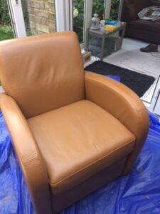 Leather club chair looks new after Cognac Rub n Restore