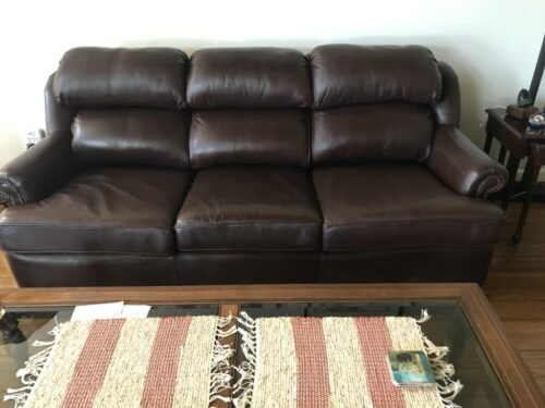 Picture of mahogany leather couch after Rub n Restore
