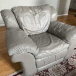 Picture of leather chair changed from beige to grey with Stone Rub n Restore
