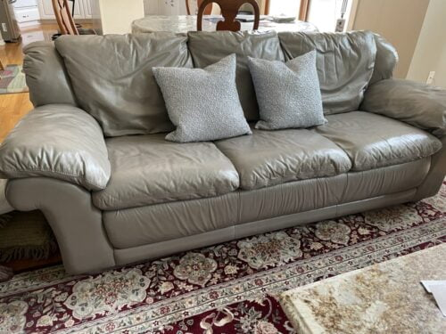 Picture of beige leather couch changed to grey using Stone Rub n Restore