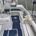 Photo of boat upholstery restored with Marine White Rub n Restore