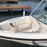 Boat vinyl restored with marine white dye.
