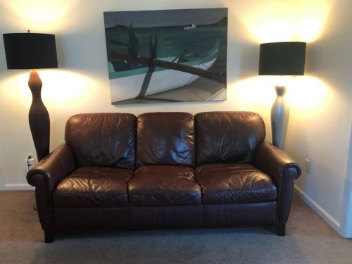 Picture of leather couch refinished with Rub n Restore