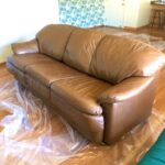 Picture of refinished leather couch with Tobacco glaze over Cognac color