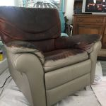 Picture of leather recliner chair being changed from brown to taupe