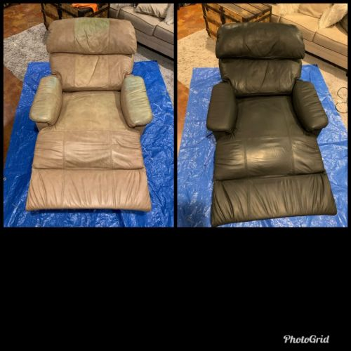 Collage of leather recliner chair changed to Black with Rub n Restore leather dye