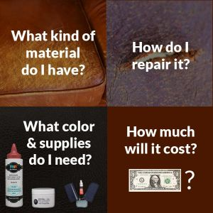Info graphic with leather repair and restoration questions