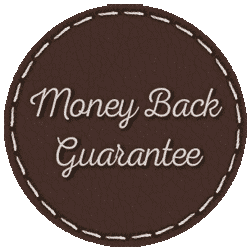 Leather stitching dark circle image that says money back guarantee