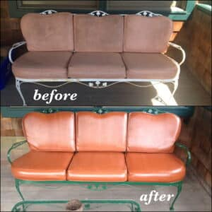 Before and after photos of patio furniture colored with rust dye