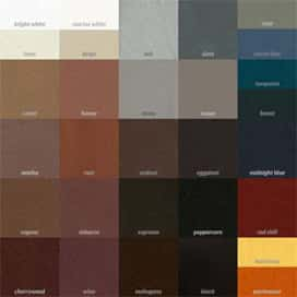 A leather dye color grid chart.