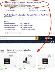 Image of search engine result showing Amazon's infringement of Rub n Restore's trademark and diverted sales to Furniture Clinic