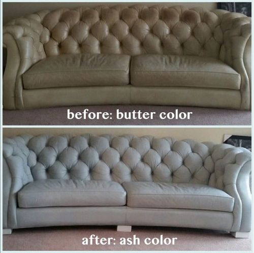 Before and after photo of a leather couch restored with ash color.