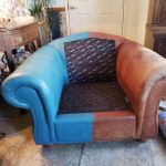 A leather chair that is being color changed.