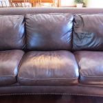 Leather couch before restoration photo