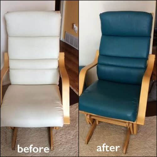 Before and after photo of a white chair colored turquoise blue.