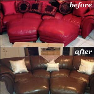 Before and after photo of a sectional changed from red to brown.