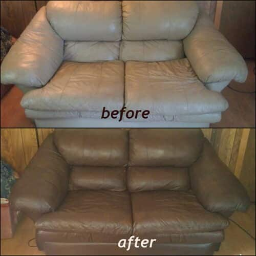 A love-seat changed from white to walnut color, before and after photo