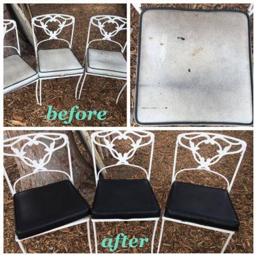 Picture of filthy vinyl chairs changed to black