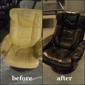 Before and after black to white color change on leather chairs
