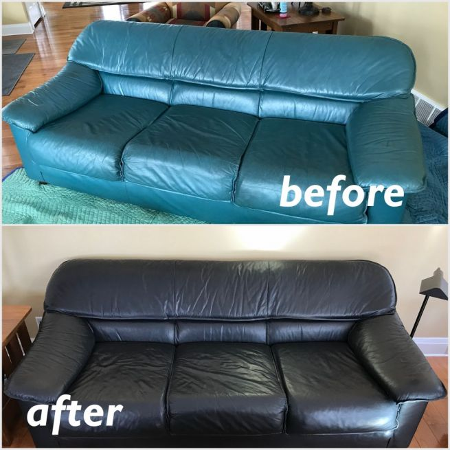 Picture of turquoise couch changed to black with Rub n Restore