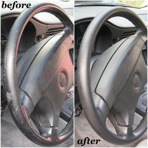 Black leather steering wheel restoration