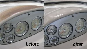 Before and after of blistered UV damaged boat dash