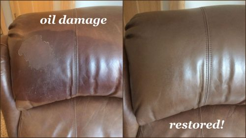 Oil damage that has been repaired with custom dye on leather chair.