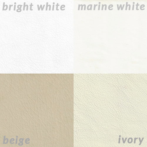 Photo comparing Bright White, Marine White, Beige, Ivory leather colors