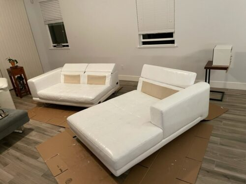 Picture of pure white leather sectional after using Rub n Restore