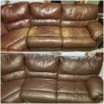 Before-after of leather sectional discolored and refinished with Rub n Restore
