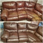 Before-after of brown leather sectional discolored and recolored with Rub n Restore