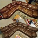 Before-after of mahogany leather sectional discolored and recolored with Rub n Restore