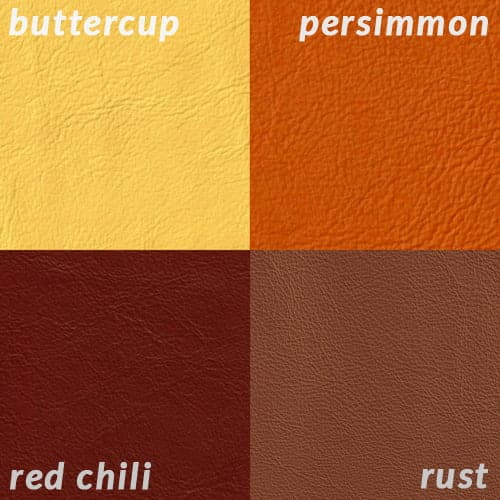 Infographic comparing yellow, orange, red leather colors