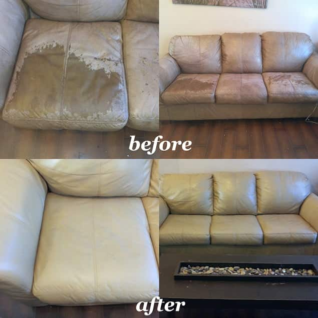 Leather Sofa restoration before and after