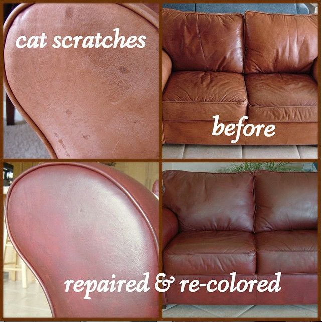 Cat scratch repair on leather chair