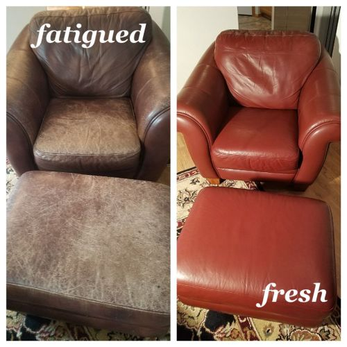 Before and after photo of leather chair and footrest recolored to a cherry red.