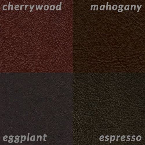 Info graphic comparing dark browns Mahogany and Espresso to Cherrywood and Eggplant